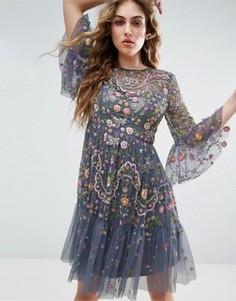 Платье миди с декоративной отделкой Needle and Thread Garden - Синий
