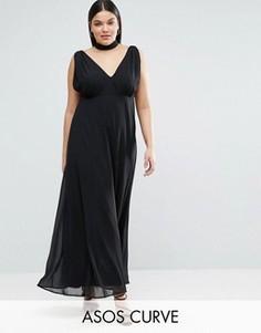 Платье макси с чокером и бретелькой сзади ASOS CURVE - Черный