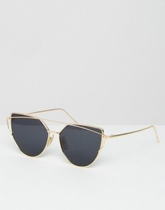 Солнцезащитные очки кошачий глаз в золотистой оправе Jeepers Peepers - Черный