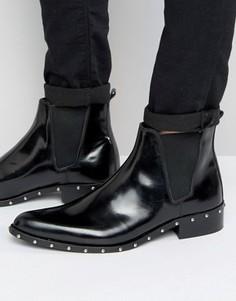 Черные кожаные ботинки челси с заклепками на подошве ASOS - Черный