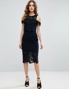 Платье миди с кроп-топом и вырезами на плечах ASOS - Темно-синий