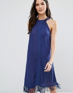 Пляжное платье мини с высокой горловиной Anmol - Темно-синий