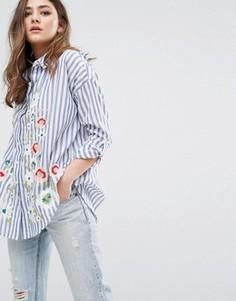 Рубашка в полоску с вышивкой Miss Selfridge - Мульти