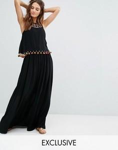 Пляжное платье макси с помпонами и оборками Akasa - Черный