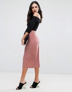 Трикотажная юбка миди Love - Розовый