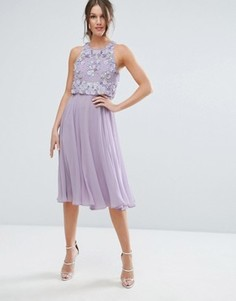 Платье миди с кроп-топом и 3D-цветами ASOS - Фиолетовый