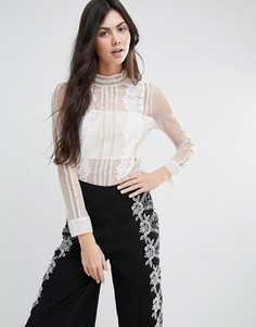 Прозрачная рубашка с длинными рукавами и кружевной отделкой Endless Rose - Белый
