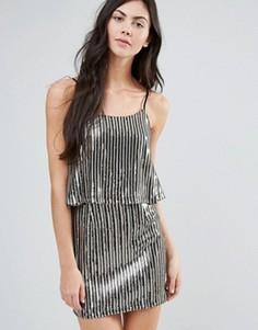 Плиссированное платье металлик с накладкой Endless Rose - Серебряный
