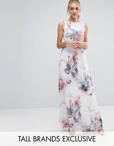 Платье макси с цветочным принтом и плиссированной юбкой Little Mistress Tall - Мульти