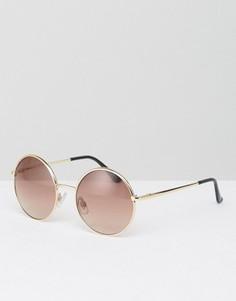 Круглые солнцезащитные очки в стиле 90-х Monki - Золотой