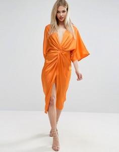 Платье-кимоно миди с узлом ASOS - Оранжевый