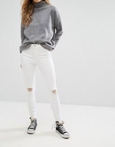 Джинсы скинни с рваными коленями New Look - Белый