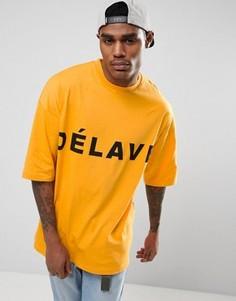 Oversize-футболка с принтом Delave ASOS - Оранжевый