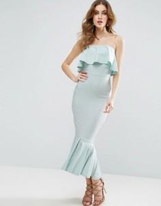 Платье миди бандо с оборками ASOS - Синий