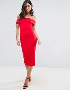 Платье миди с открытыми плечами Oh My Love - Красный
