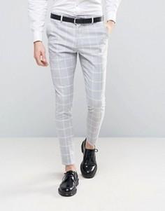 Суперузкие брюки в клетку Selected Homme - Серый