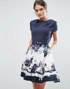 Короткое приталенное платье Ted Baker Stefh - Синий