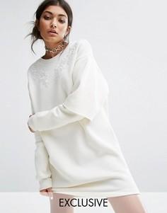 Свободное трикотажное платье с двухслойными рукавами Bones - Белый