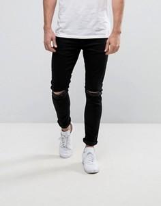 Черные джинсы скинни с прорехами на коленях YOURTURN - Черный