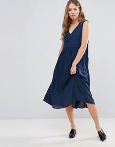 Свободное платье миди Y.A.S Vinc - Темно-синий