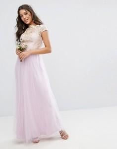 Кружевное платье макси с юбкой из тюля Chi Chi London Premium - Фиолетовый