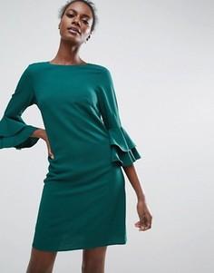 Цельнокройное платье с оборками на рукавах Traffic People - Зеленый