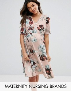 Платье для кормления с запахом и цветочным принтом Bluebelle - Мульти