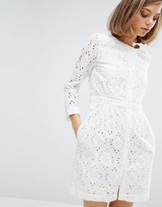 Платье с вышивкой и пуговицами спереди Vanessa Bruno Athe - Белый