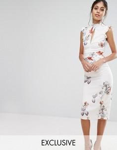 Платье миди с принтом и кружевной вставкой Hope & Ivy - Мульти