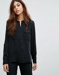 Рубашка в полоску без воротника Y.A.S Silla - Черный