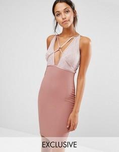 Платье миди с лямками и отделкой пайетками NaaNaa - Розовый