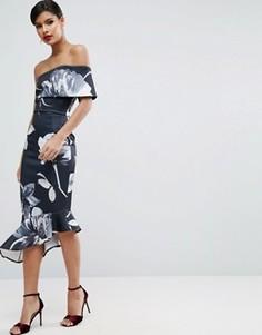 Асимметричное платье миди на одно плечо с цветочным принтом ASOS - Мульти