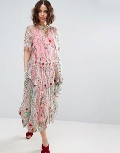 Свободное удлиненное платье миди с вышивкой ASOS SALON - Мульти