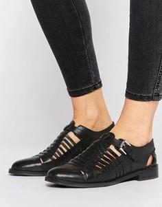 Плетеные кожаные туфли на плоской подошве ASOS MONUMENT - Черный