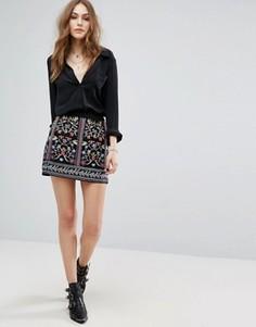 Мини-юбка с вышивкой Vero Moda - Мульти