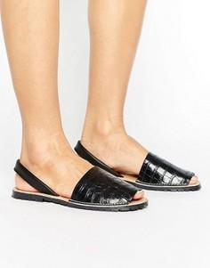 Кожаные сандалии с отделкой под кожу крокодила Park Lane - Черный