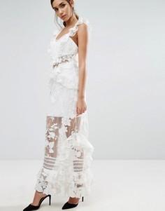 Платье макси с оборкой Three Floor - Кремовый