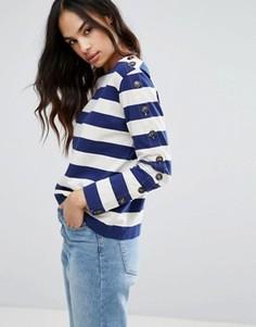 Топ в бретонскую полоску с пуговицами на длинных рукавах MiH Jeans - Синий