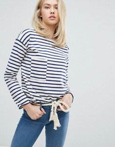 Лонгслив в бретонскую полоску с карманом MiH Jeans - Темно-синий