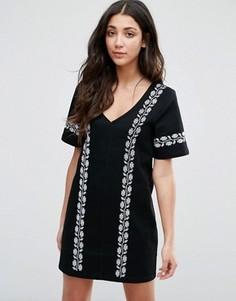 Джинсовое платье с вышивкой Neon Rose - Черный