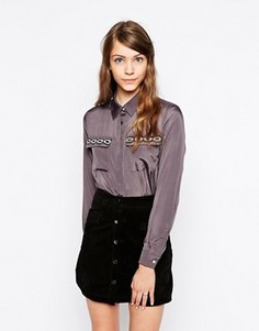 Блузка с отделкой на карманах Sister Jane Lynx - Серый