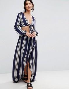 Комбинируемая пляжная юбка макси в полоску ASOS - Мульти