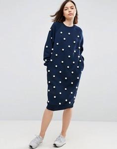 Платье-свитер с отделкой искусственным жемчугом ASOS WHITE - Темно-синий