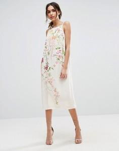 Платье-комбинация миди с вышивкой ASOS - Бежевый