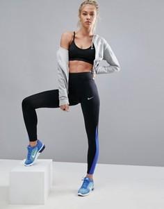 Черные леггинсы с синими вставками Nike Running Power Racer - Черный