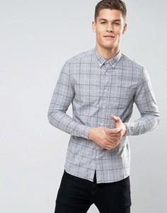 Узкая клетчатая рубашка с начесом Burton Menswear - Серый