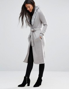 Пальто-кардиган с отделкой искусственным мехом QED London - Серый