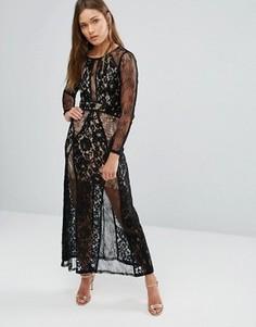Платье макси с кружевным верхним слоем Pixie & Diamond - Черный