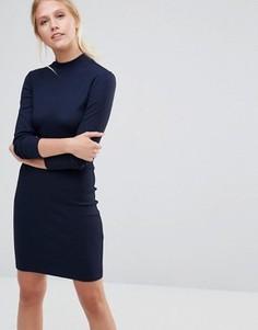 Облегающее платье в рубчик с длинными рукавами Pieces Perla - Темно-синий