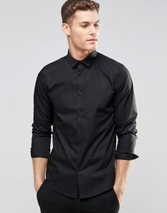 Черная рубашка классического кроя с длинными рукавами ASOS - Черный